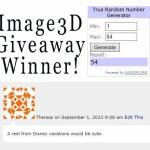 Image 3D Giveaway Winner!