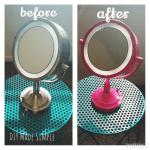 DIY Pop of Color Makeup Mirror