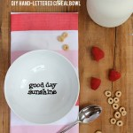 DIY hand-lettered cereal bowl