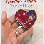 DIY needle-felted zipper heart