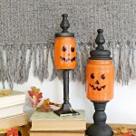 DIY Mason Jar Craft: Pumpkin Candy Jars