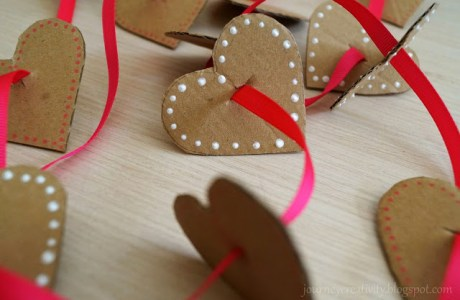 Easy Cardboard Heart Garland