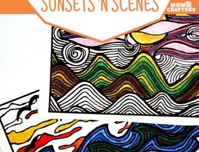 Get These Free Printable Sunset Scenes Adult Coloring Pages!