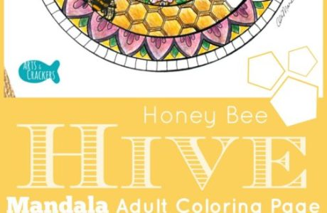 FREE Bee Hive Mandala Adult Coloring Page