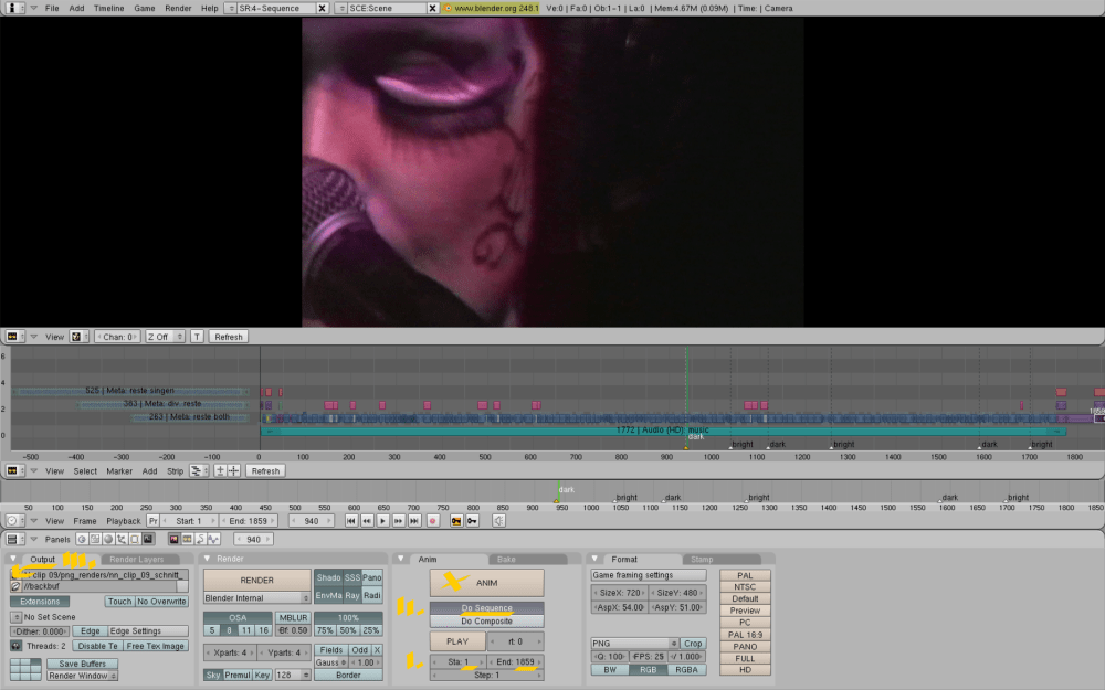 Editing with Blender, Ubuntu: Screenshots, workflow from my Notic Nastic live clip (5/6)