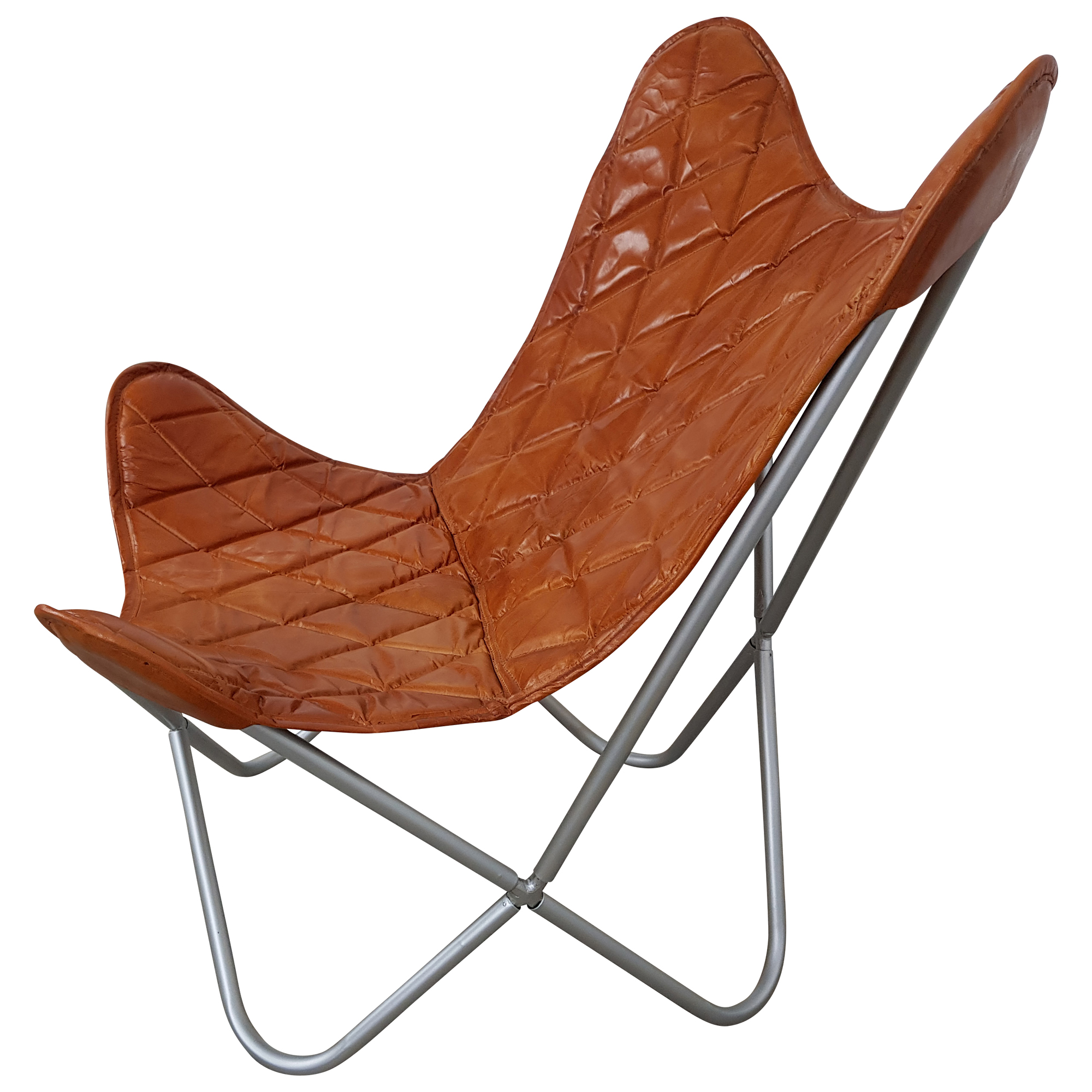 Retro Sessel Leder Butterfly Chair Sessel Design Lounge Stuhl Leder Braun