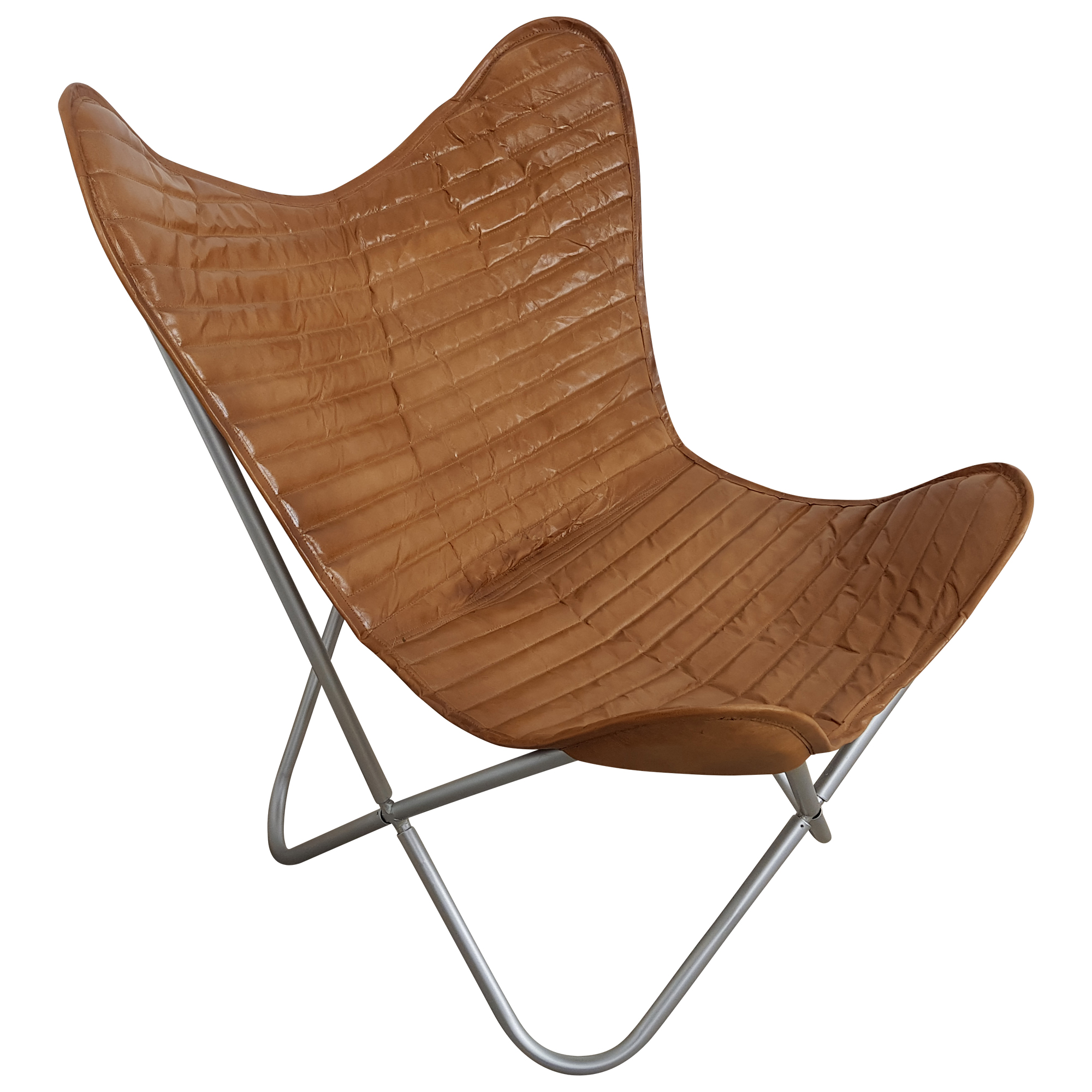 Sessel Retro Butterfly Chair Sessel Design Lounge Stuhl Echt Leder Braun Loungesessel Retro