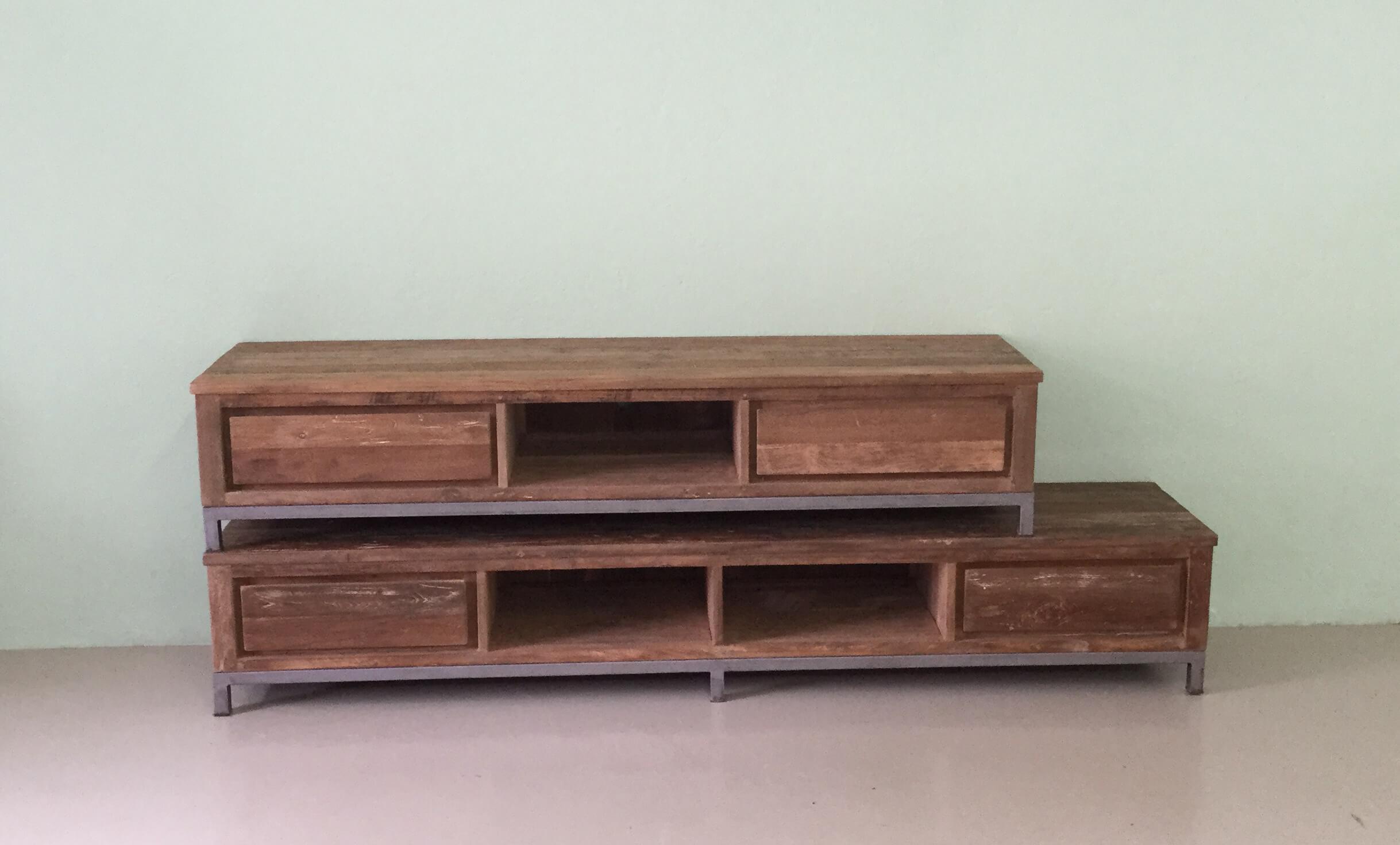 Tv Kast Teak : Pc meubel kast stoere computer kast van steigerhout