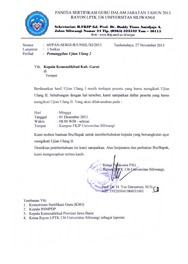 Undangan Ujian Ulang Plpg 2013 Rayon 110