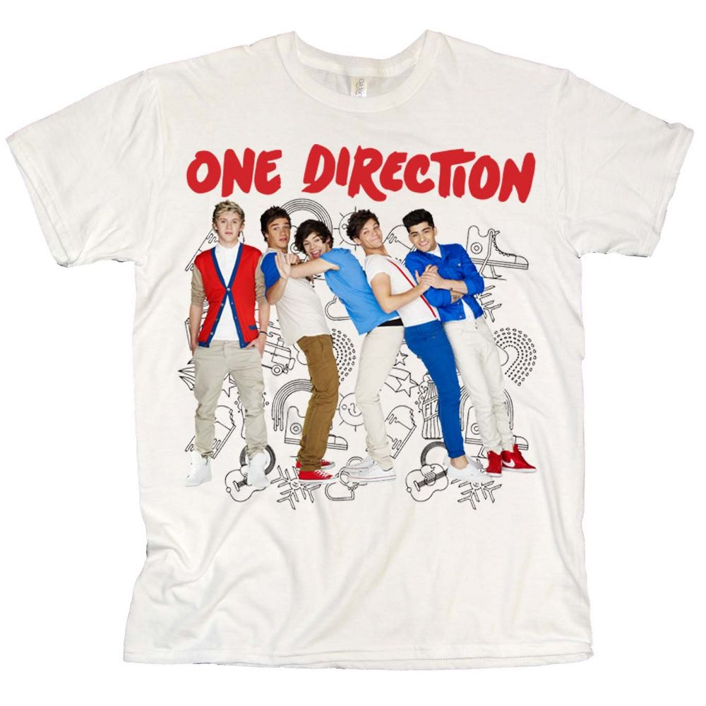 100 cotton white t shirt featuring a full colour band pose design front print and tour dates back print