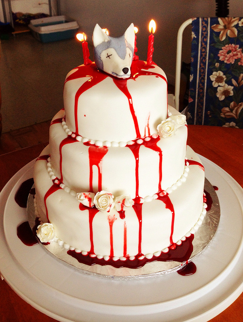 Finished Red Wedding Cake