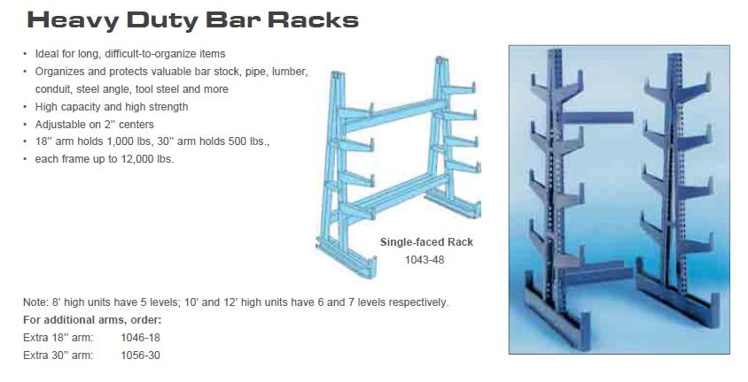 Equipto Heavy Duty Bar Cantilever Racks 1000 Lbs Capacity