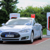 A Tesla, waiting to charge.