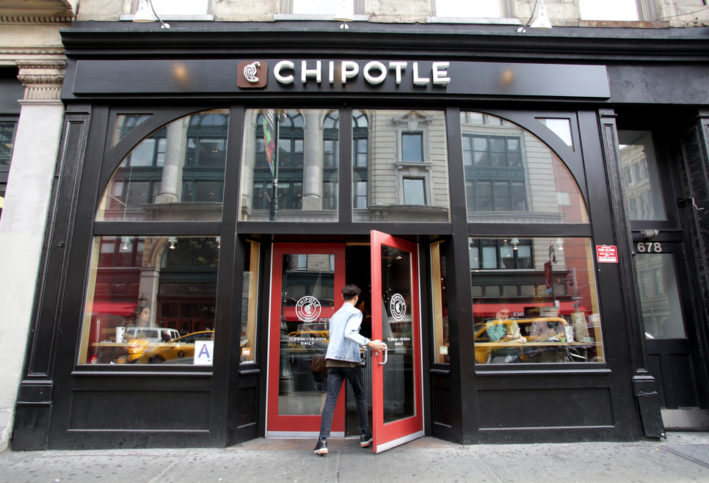 A photo taken from the outside of a Chipotle restaurant.