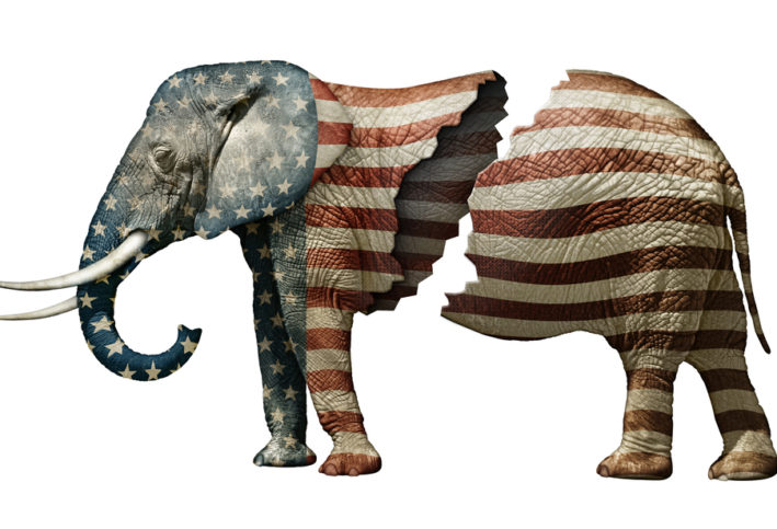 A computer generated image of an elephant painted as the American flag. The elephant is split in two.