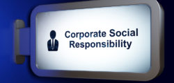 """A sign that reads, """"Corporate social responsibility."""""""