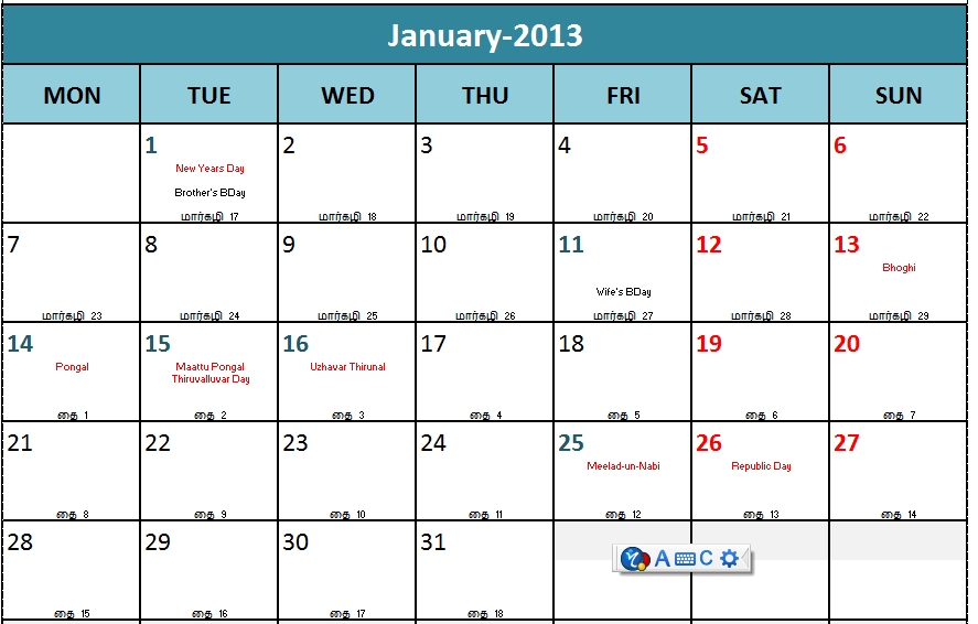 Calendar 2013 Template Excel