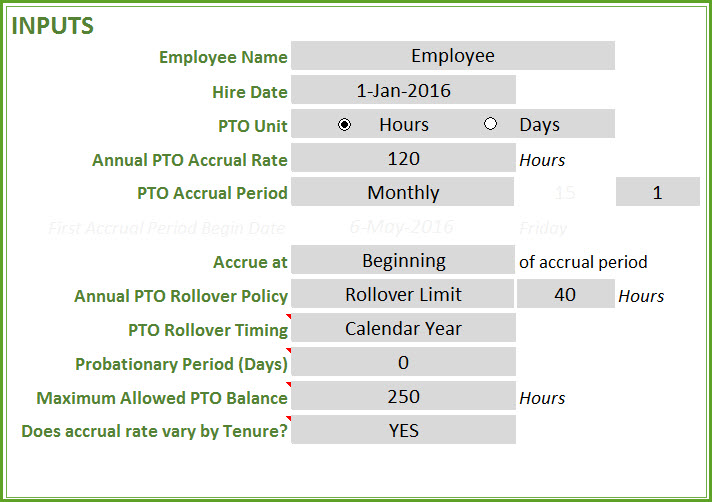 PTO Calculator Excel Template - Employee PTO Tracker, Vacation Tracker