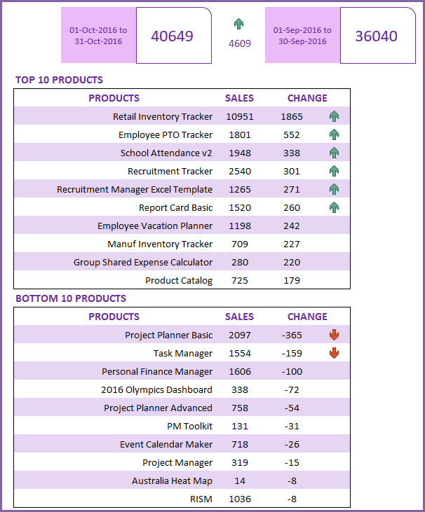 Sales Report Excel Template - Top 10  Bottom 10 Products by Sales