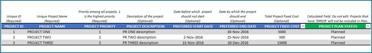 Project Planner Template - Free Project Management Excel template - project prioritization template