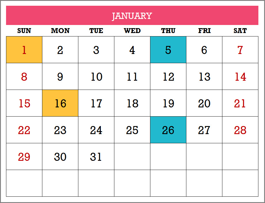 Calendar Template - 17 Calendar Designs in Excel - Free Download