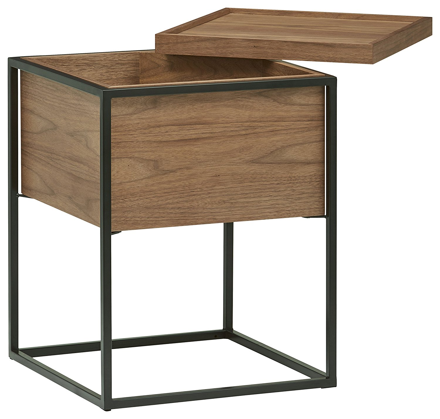 Wood And Metal Side Tables Rivet Axel Lid Storage Wood And Metal Side Table Best