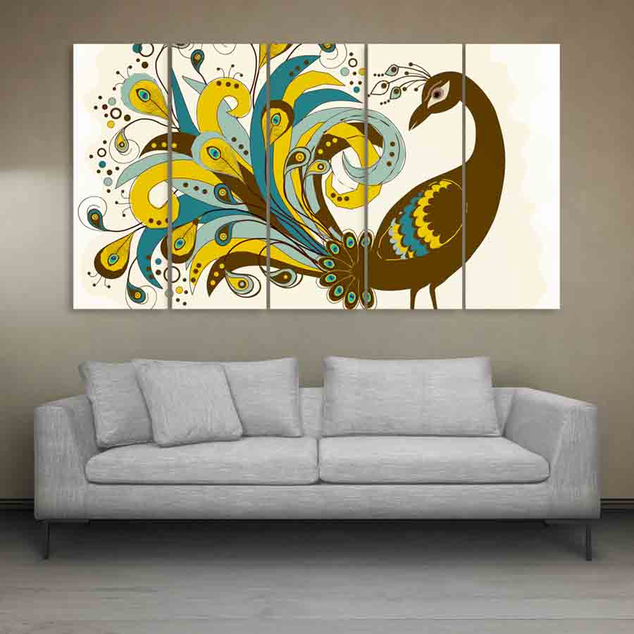 Peacock Living Room Multiple Frames Beautiful Peacock Wall Painting For Living Room Bedroom Office Hotels Drawing Room 150cm X 76cm