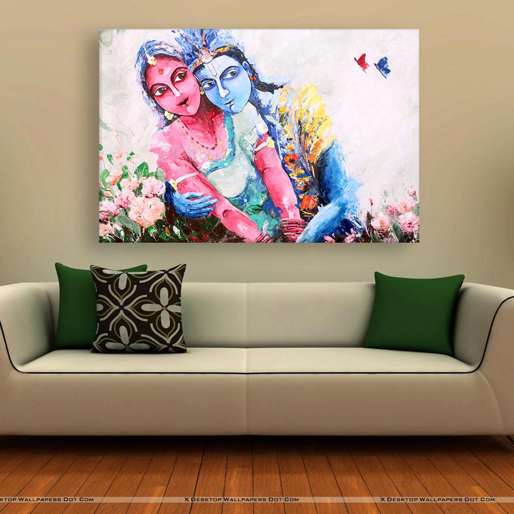 Living Room Paintings Canvas Painting Beautiful Radha Krishna Art Wall Painting For Living Room Bedroom Office Hotels Drawing Room 91cm X 61cm