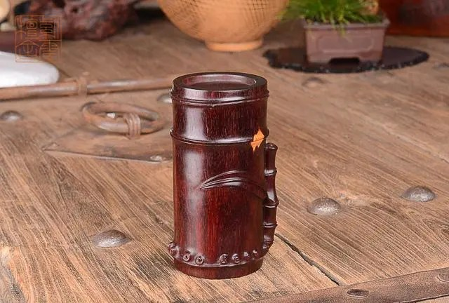 紫雲檀舍 印度小葉紫檀 金星料 竹節 茶葉桶
