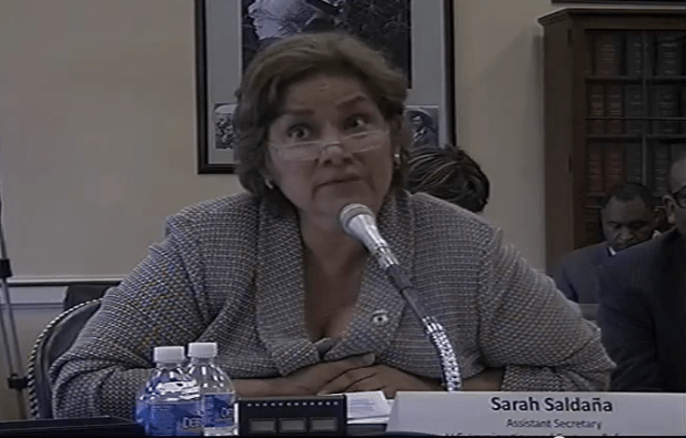 Saldaña answers questions about the 34,000 bed mandate at a budget hearing.