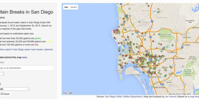 Map: San Diego water main breaks