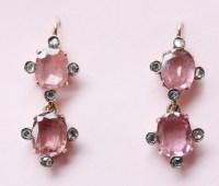 pink spinel and diamond earrings - Inez Stodel
