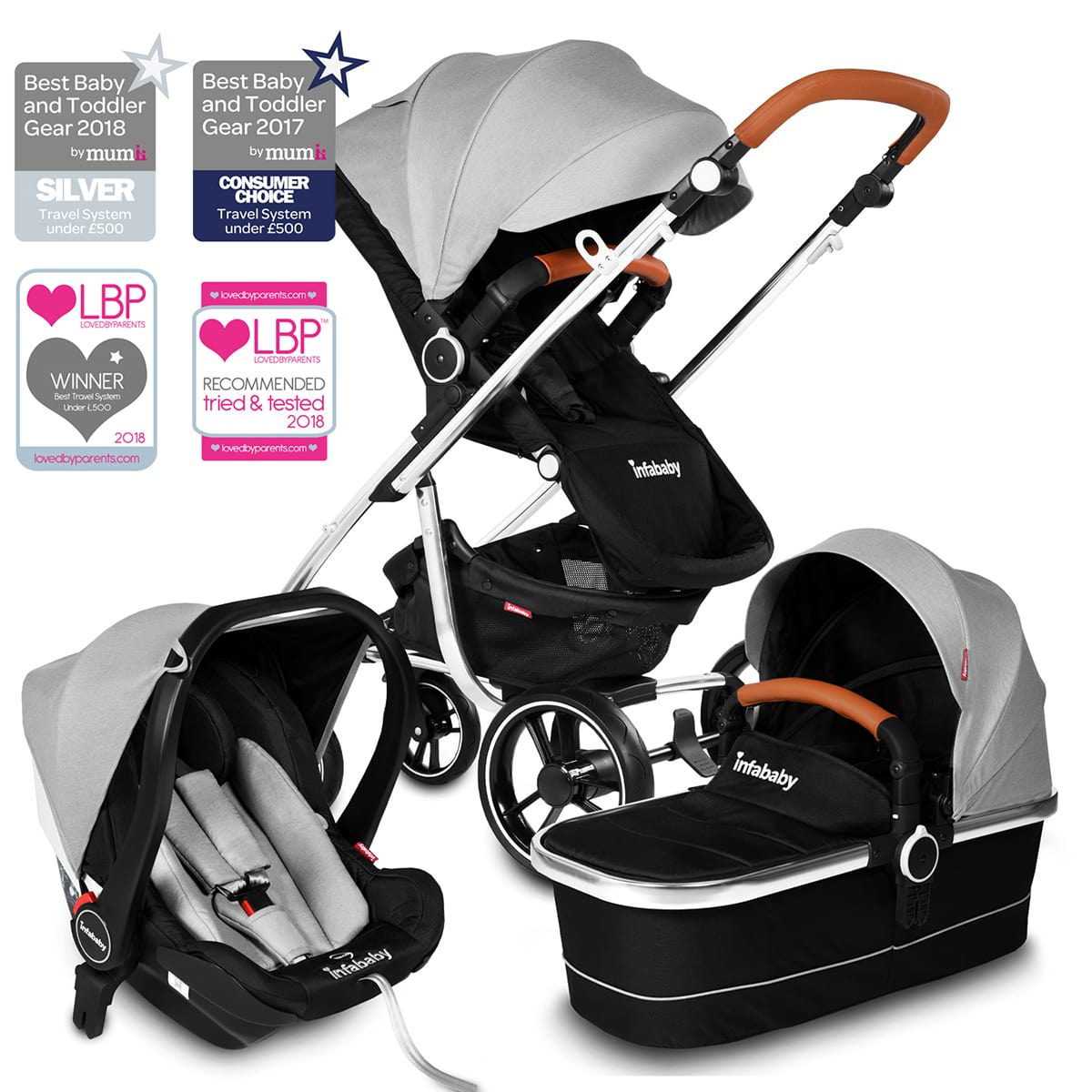 Top Lightweight Travel System Strollers Infababy Moto 3in1 I Size Travel System 2020 Model Soft Grey