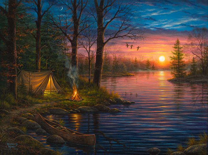 Fall Cabin The Woods Wallpaper Evening Mist Abraham Hunter