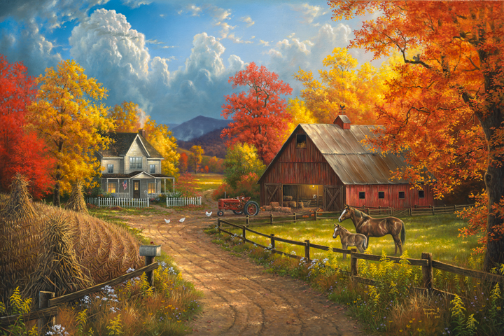 Colorful Fall Scene Wallpaper Country Blessings By Abraham Hunter 187 Infinity Fine Art