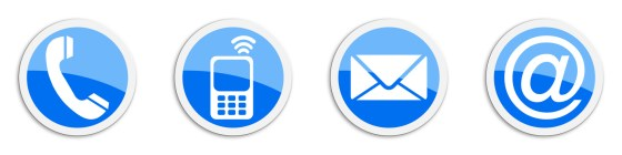 Four contacting sticker symbols in blue - buttons