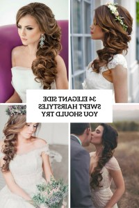 2018 Popular Wedding Hairstyles For Long Hair With Side Swept