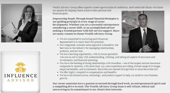 Wealth Advisory Group LLC recruitment page developed by InfluenceAdvisor