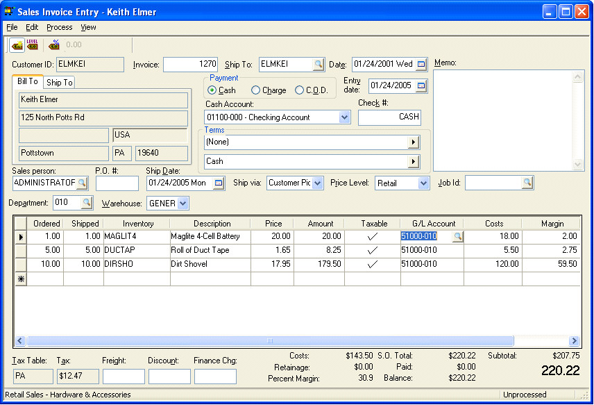 Entering and Printing a Sales Invoice - invoice sale