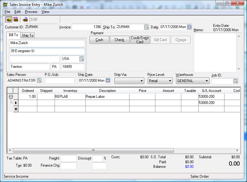 Creating an Inventory Unit within the Sales Invoice