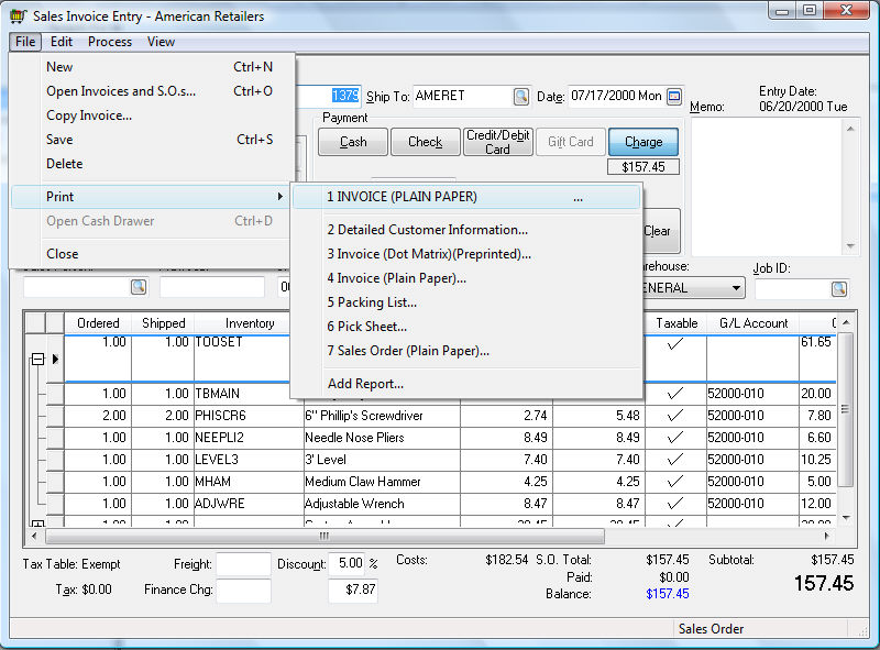 Printing a Sales Invoice or Payment Receipt - printed invoices