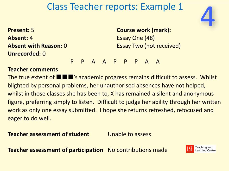 Example reports for class teaching