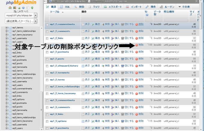 phpMyAdmin画面