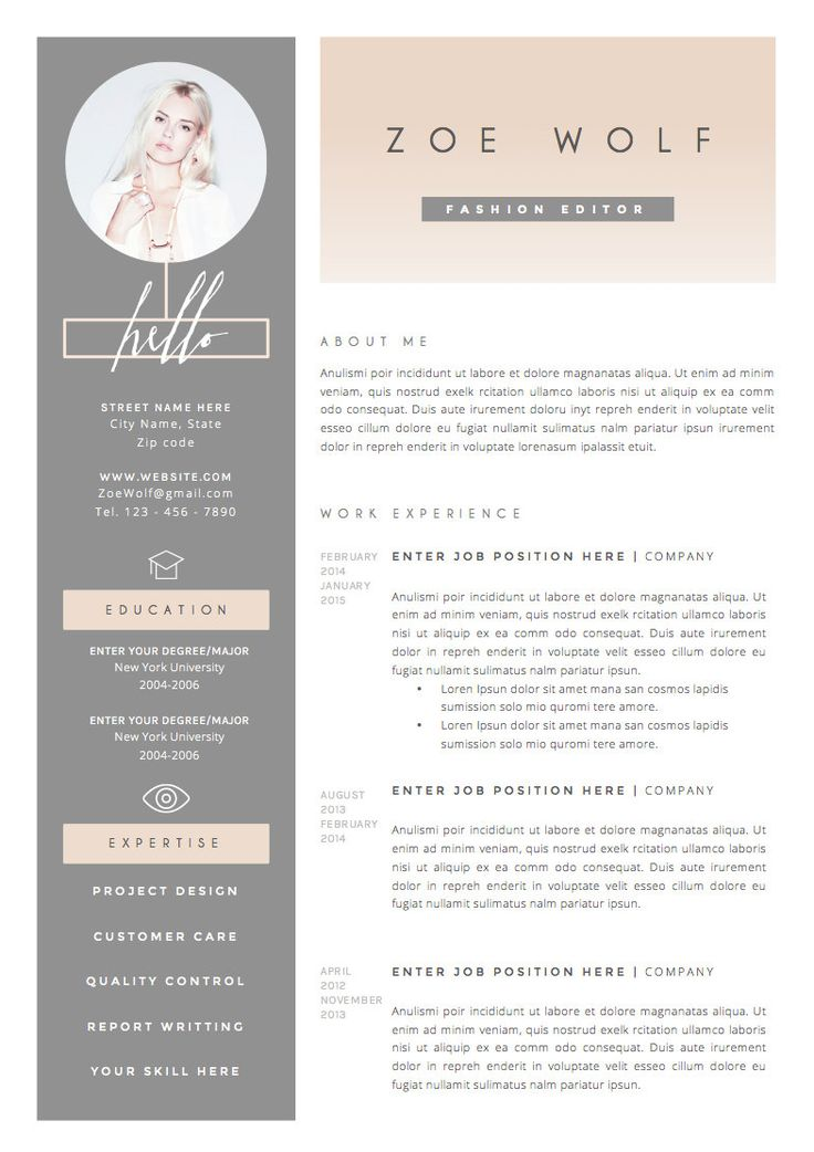 best girly cv template
