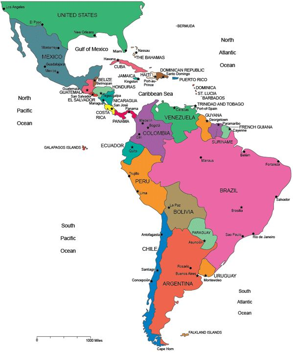 Travel infographic - Map of Latin America, blank, printable South