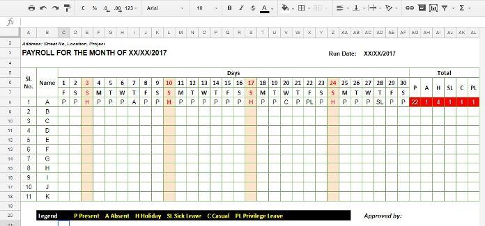 How to Create a Staff Attendance Sheet Using Google Sheets - attendance register sample