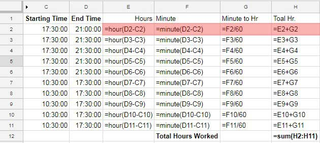 Payroll Hours Time Calculation in Google Sheets Using Time Functions - employee schedule calculator