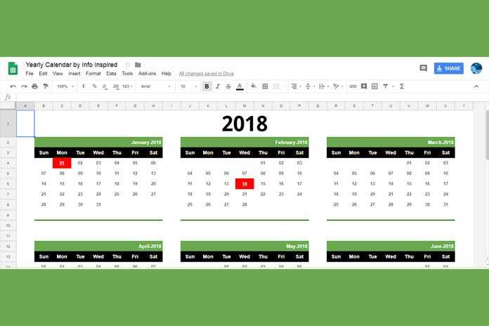 Free Google Sheets Calendar Template Download and How To