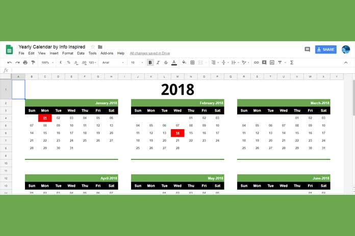 Free Google Sheets Calendar Template Download and How To - calendar template