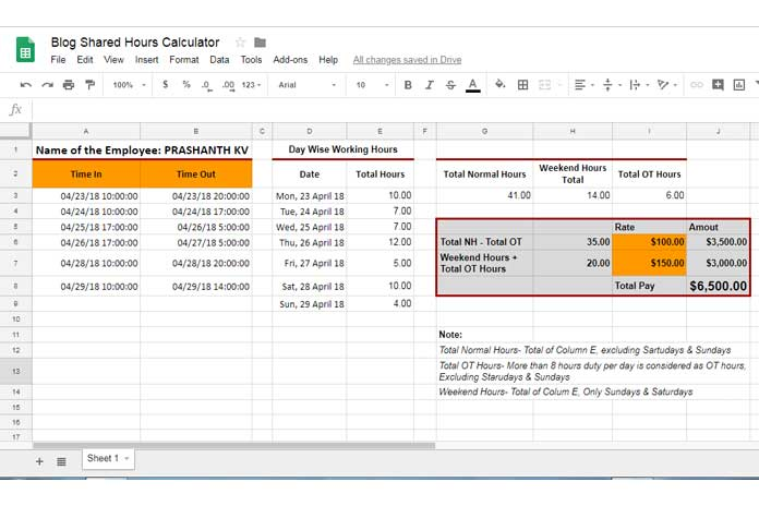 Calculate Day Wise Working Hours - Normal, OT, Weekends, Night Shift - how to calculate time sheets
